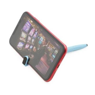 Caneta fibra de bambu touch com suporte para celular.