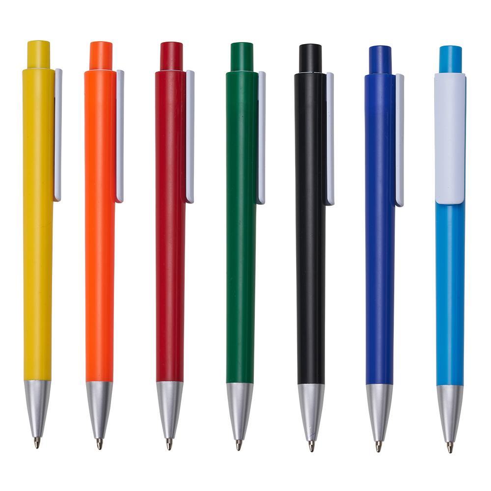 Caneta plástica colorida aciona por clique.