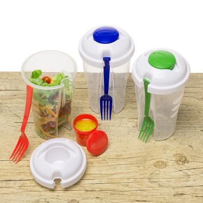 Copo de salada 850ml com garfo e compartimento