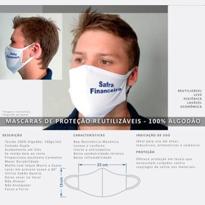 Máscara  reutilizável, produzida em 100% algodão