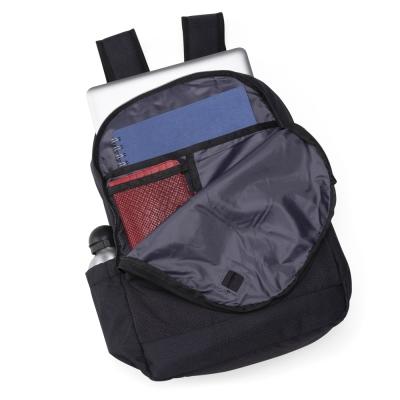 Mochila poliéster com compartimento para notebook. Possui um compartimento superior com bolso interno para notebook,